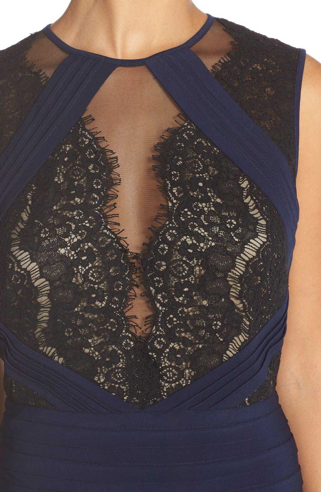 Alternate Image 4  - Xscape Lace & Pleat Jersey Sheath Dress