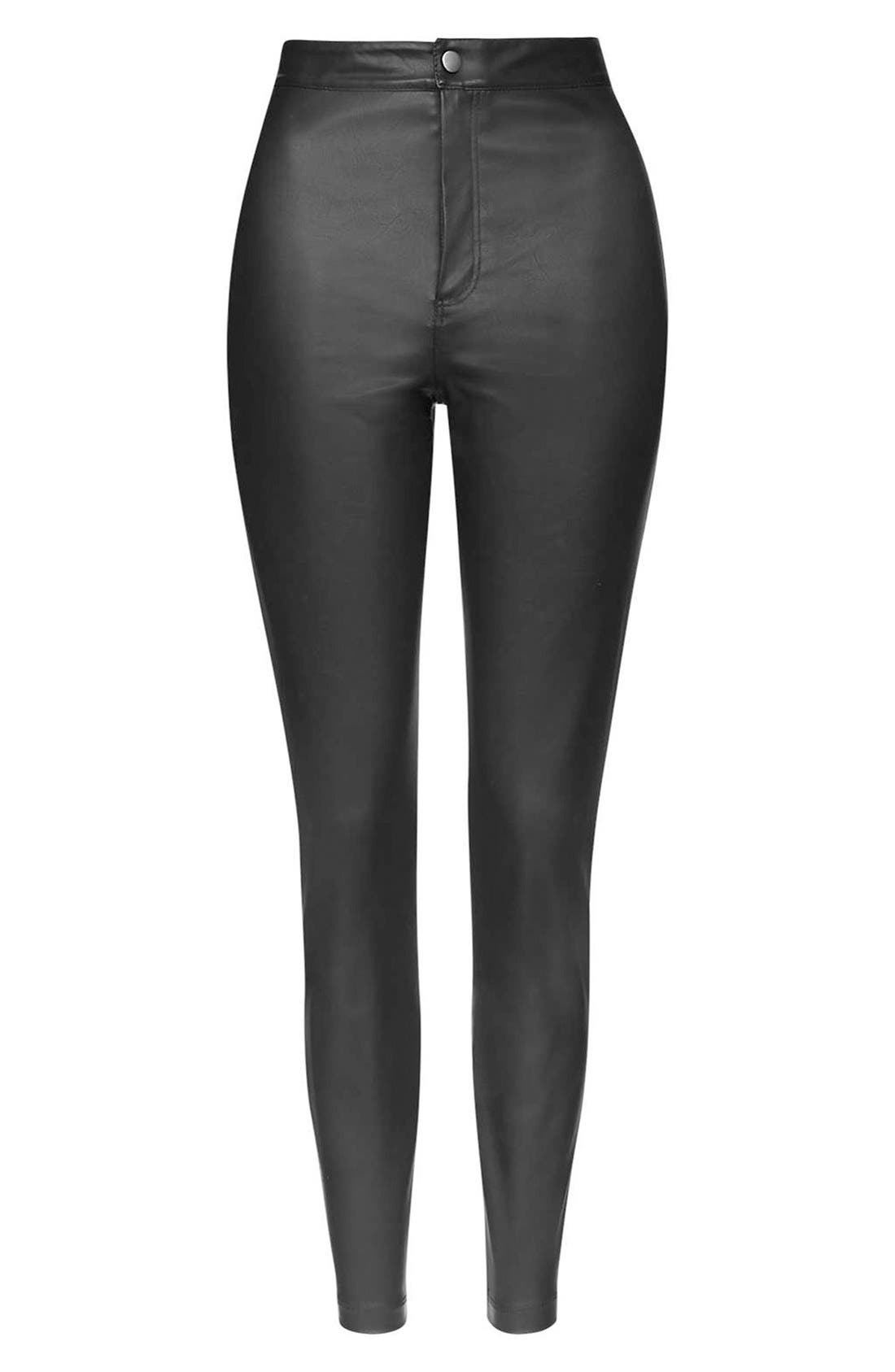 Alternate Image 2  - Topshop Faux Leather Crop Trousers