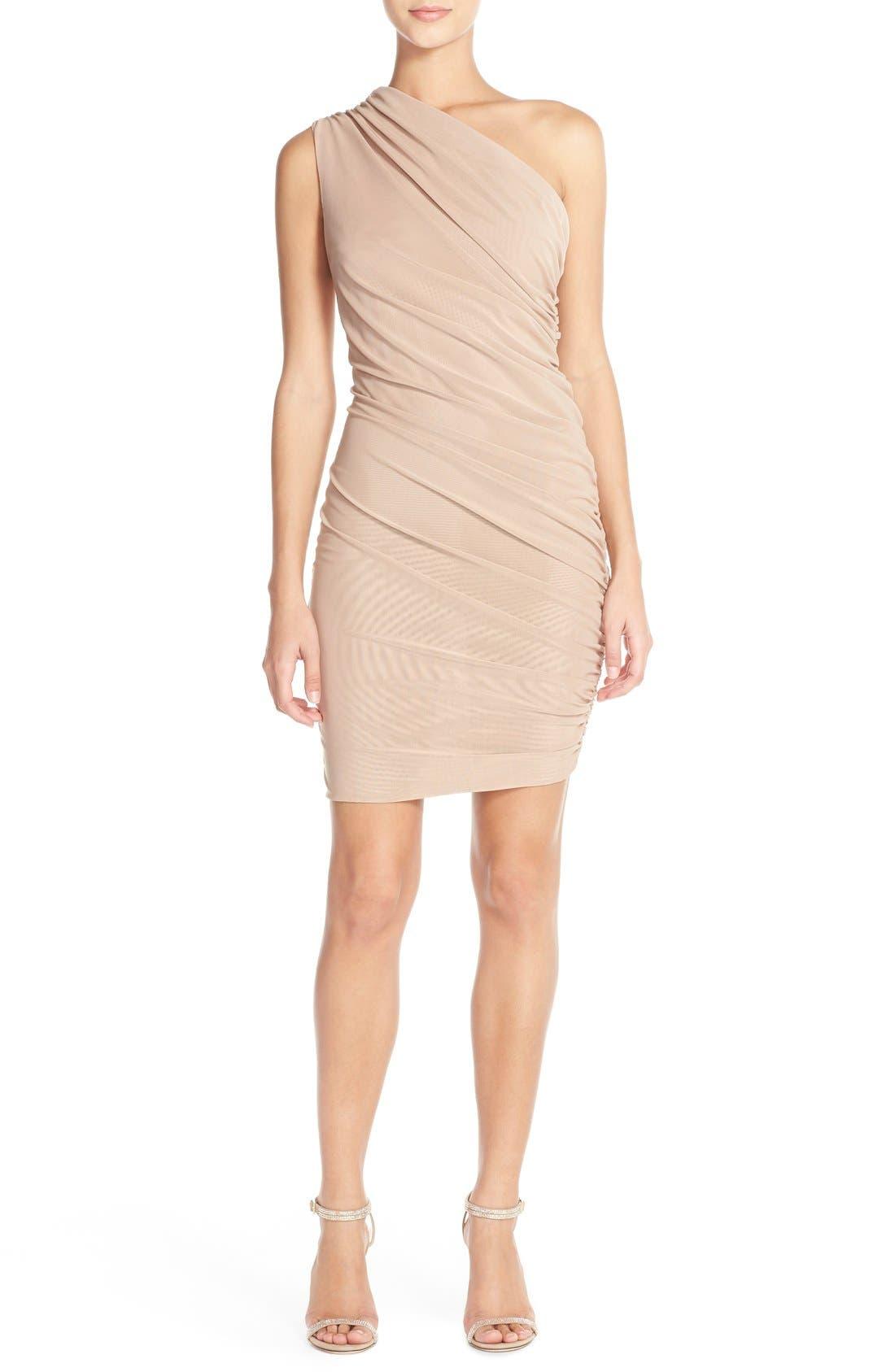 Alternate Image 4  - Misha Collection 'Shani' One-Shoulder Mesh Body-Con Dress