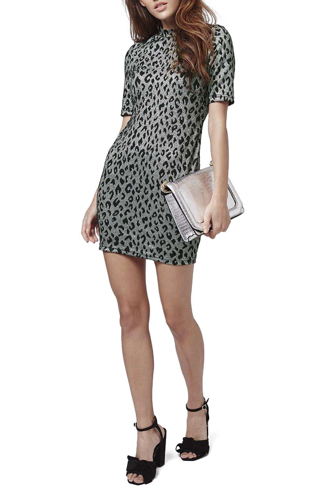 Main Image - Topshop Jacquard Leopard Body-Con Dress (Regular & Petite)