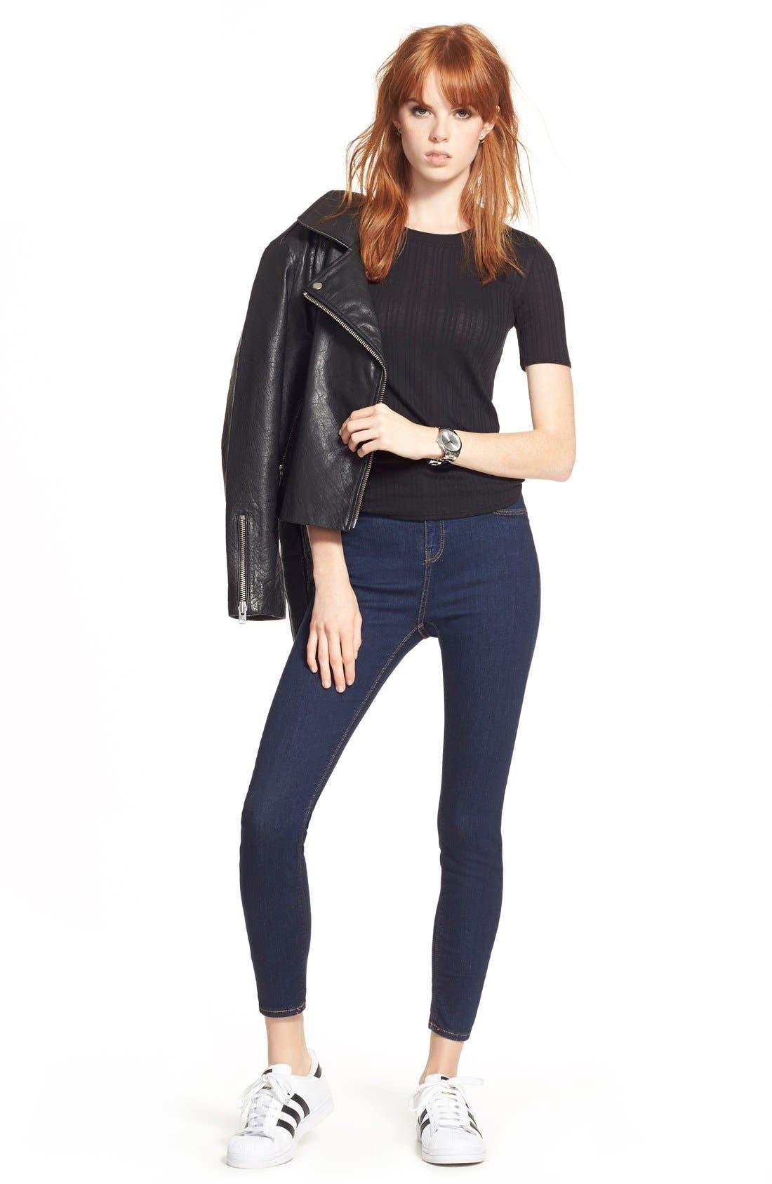Alternate Image 2  - Topshop Leather Biker Jacket