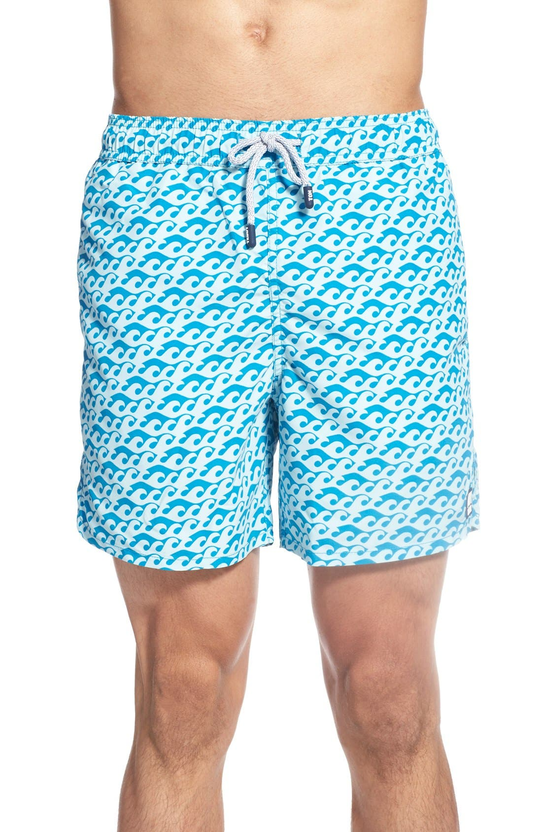TOM & TEDDY Wave Print Swim Trunks