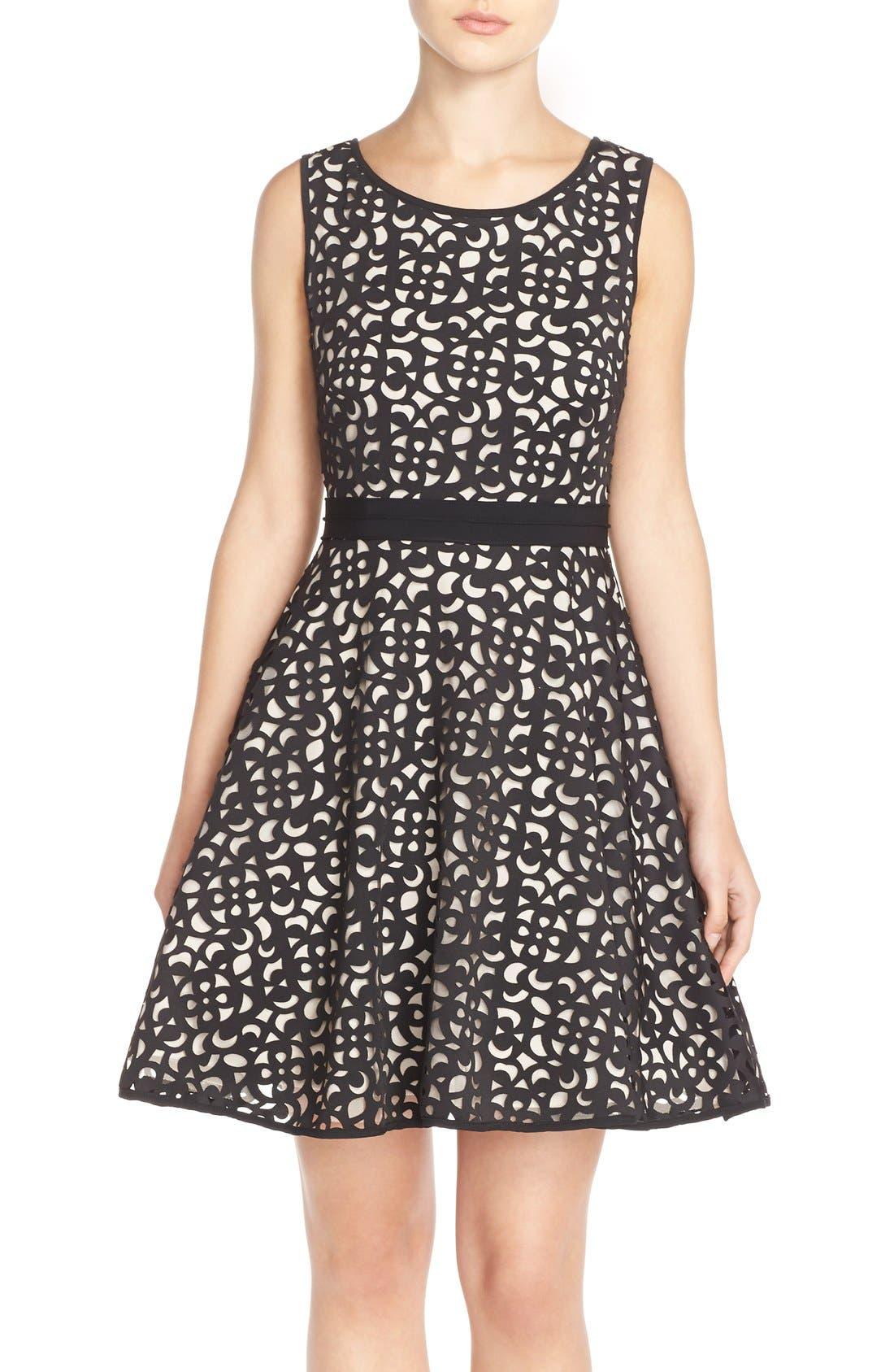 Alternate Image 1 Selected - XscapeLaser Cut Scuba Fit & Flare Dress