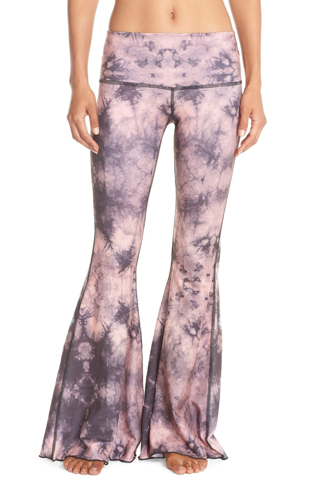 Main Image - teeki 'Eagle Feather' Print Flared Pants