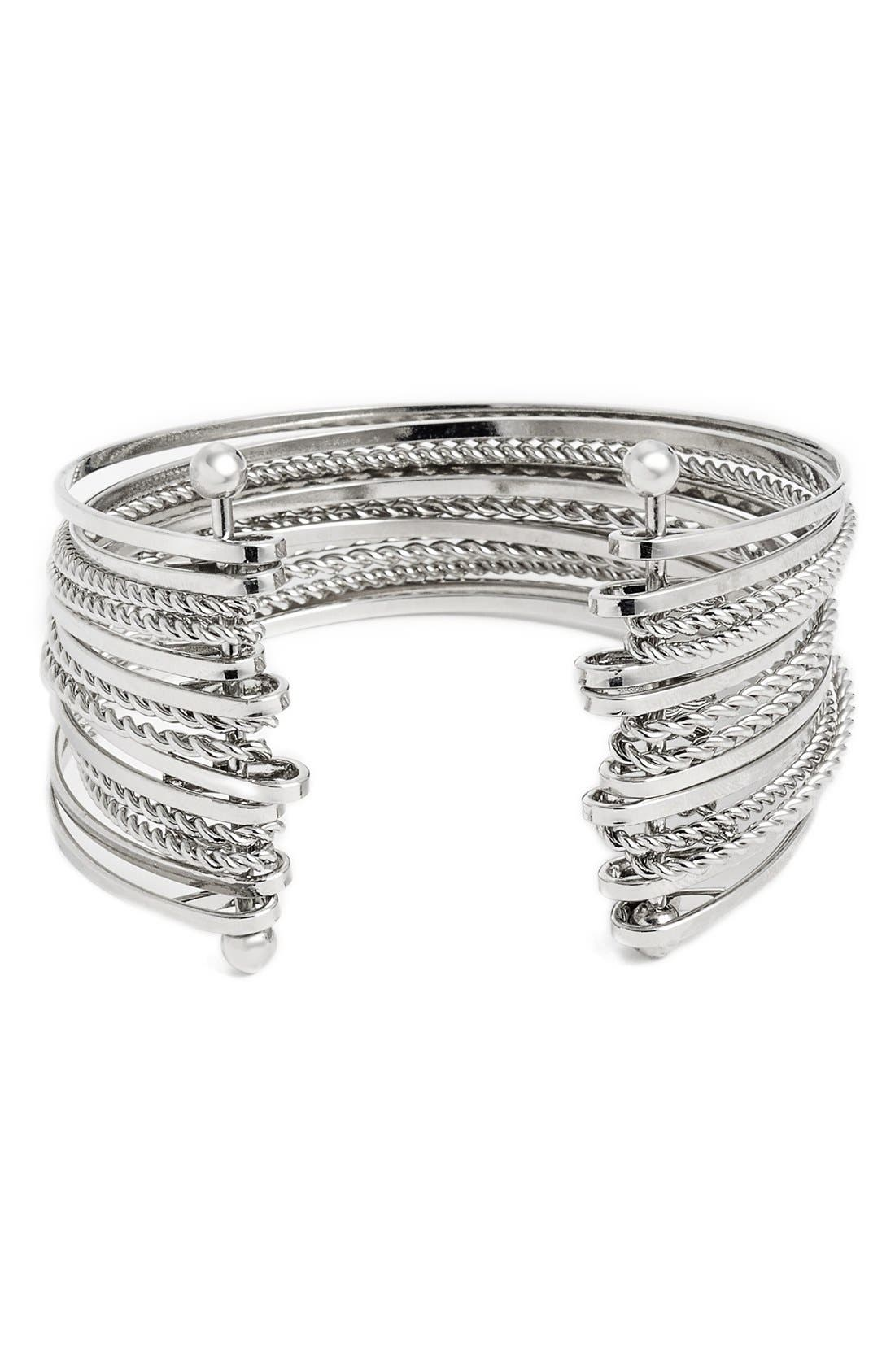 Main Image - BP. Twisted Chain Multi Row Cuff Bracelet