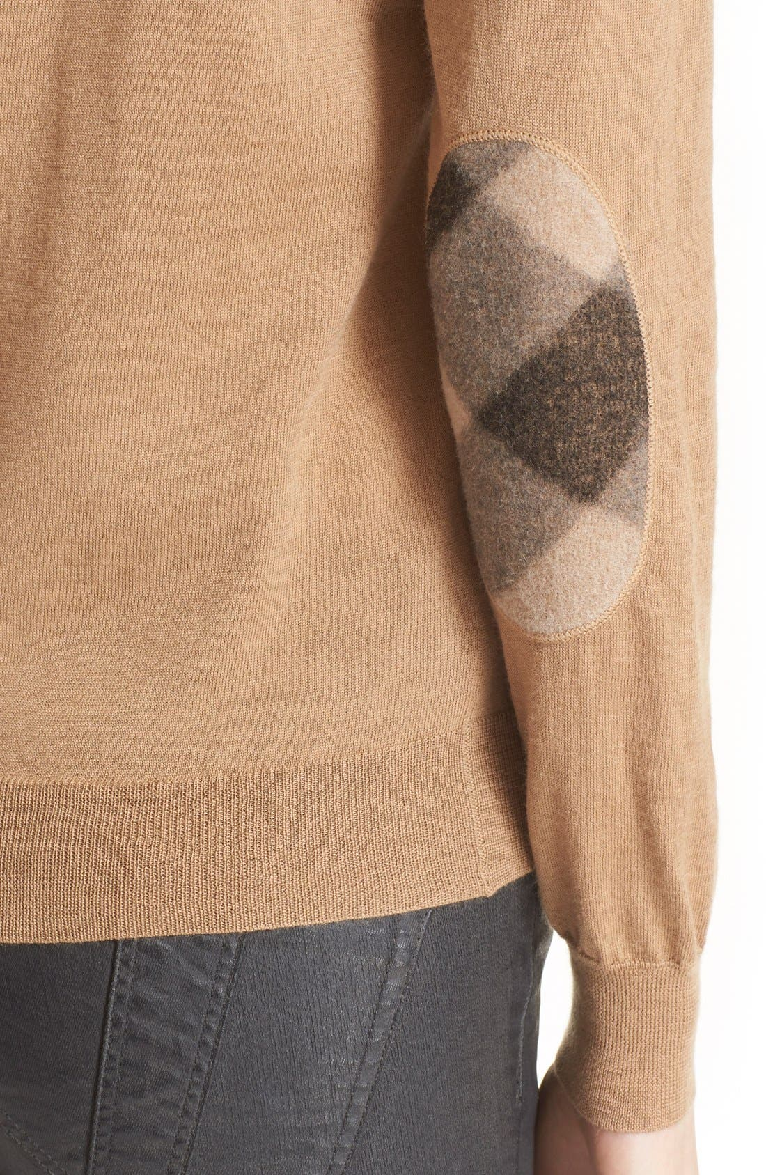 Alternate Image 4  - Burberry Brit Check Patch Merino Sweater