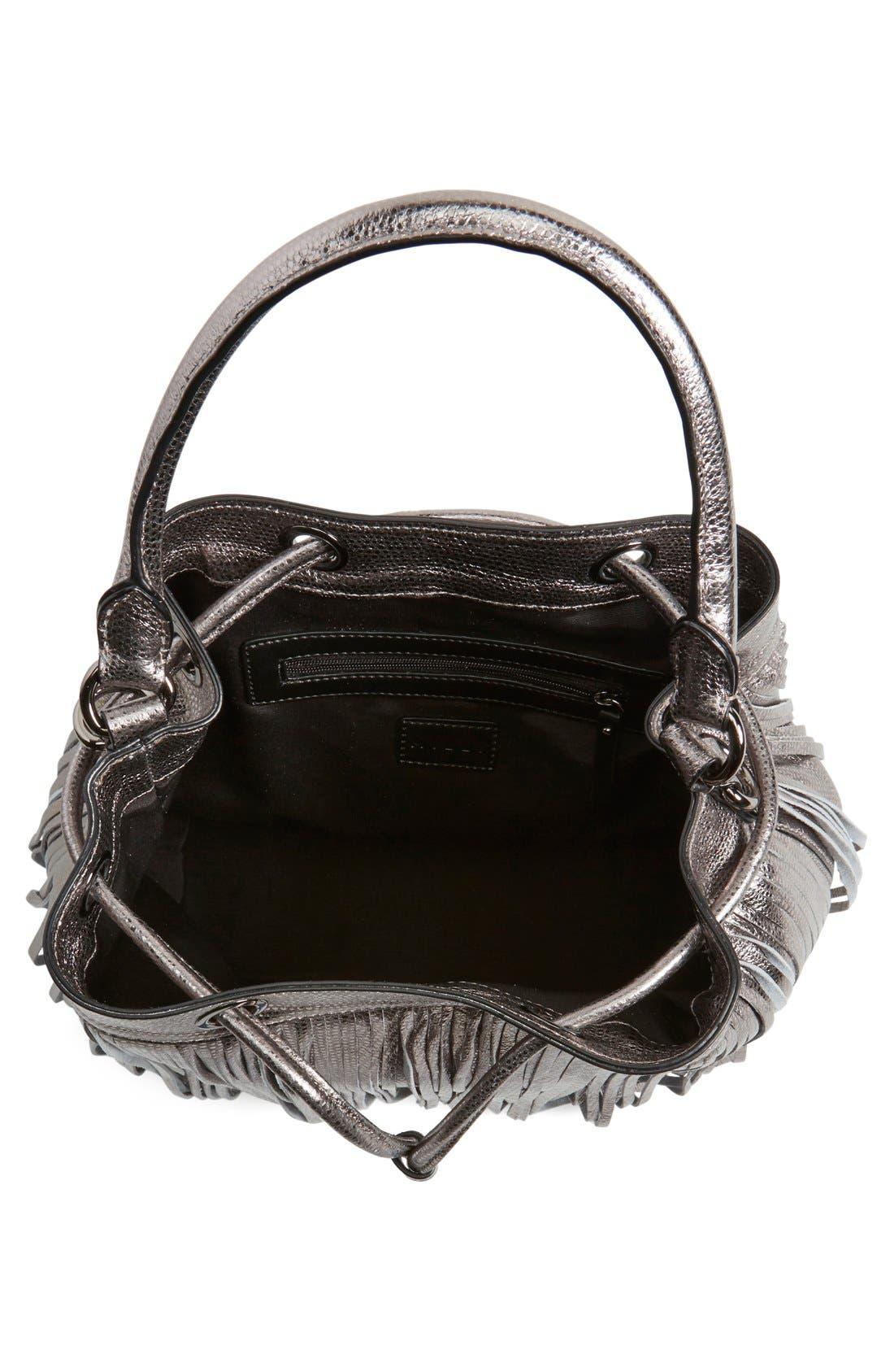 Alternate Image 4  - Milly 'Large' Metallic Leather Fringe Bucket Bag