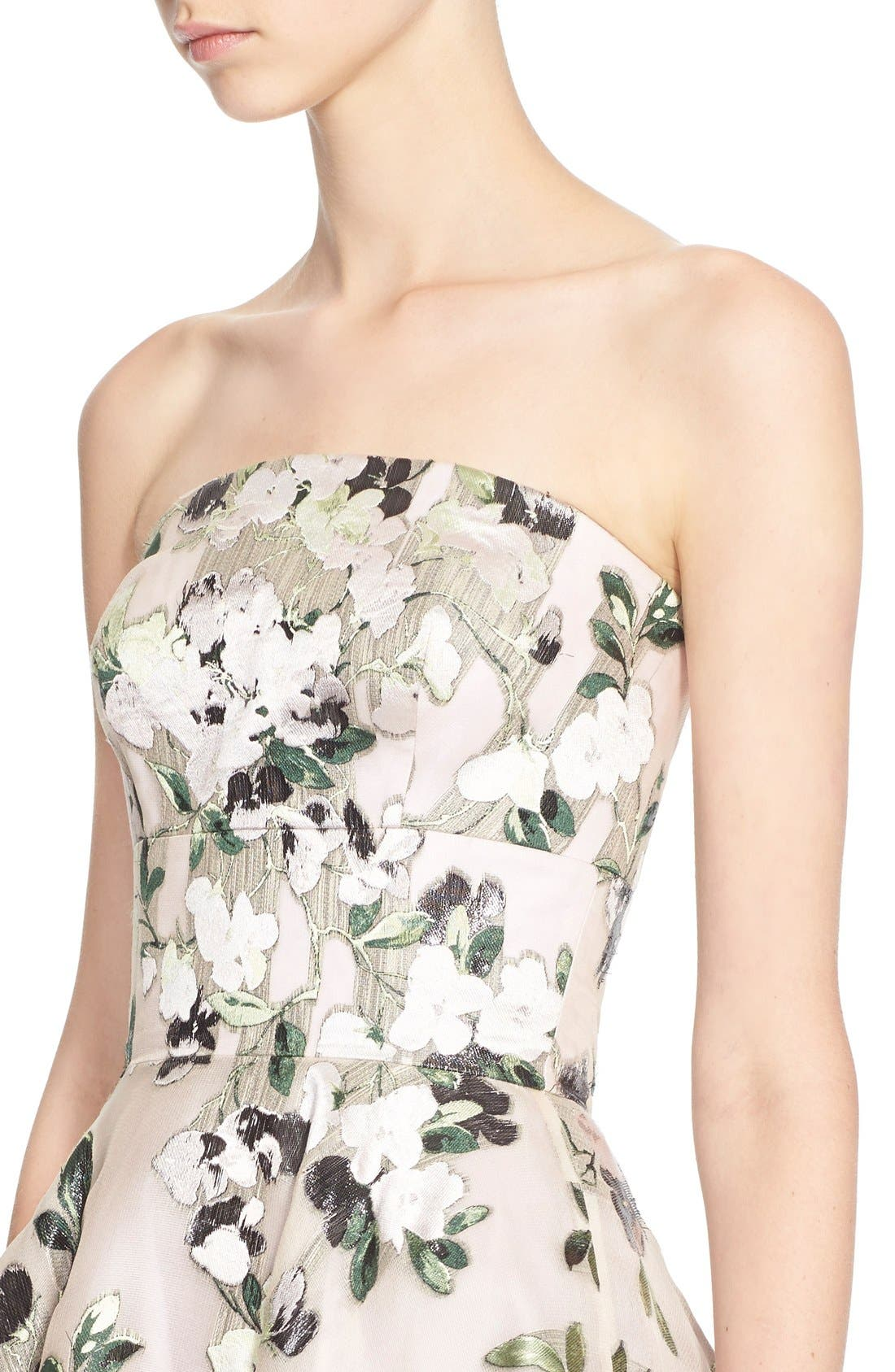 Alternate Image 6  - Alexander McQueen Floral Print Strapless Fit & Flare Dress