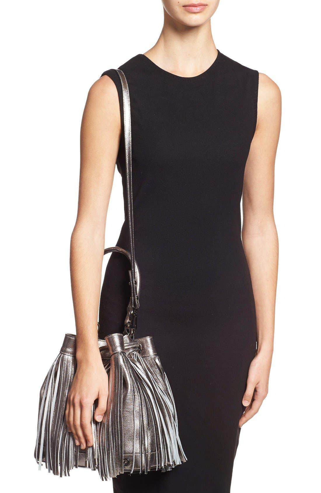 Alternate Image 2  - Milly 'Large' Metallic Leather Fringe Bucket Bag