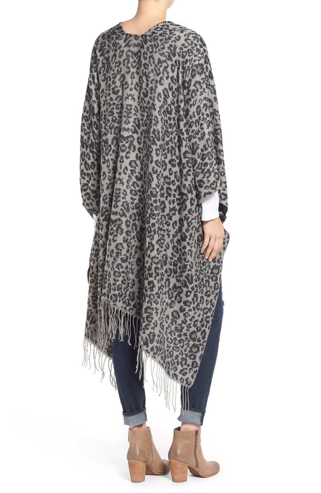 Alternate Image 2  - Capelli of New York Leopard Print Knit Cape