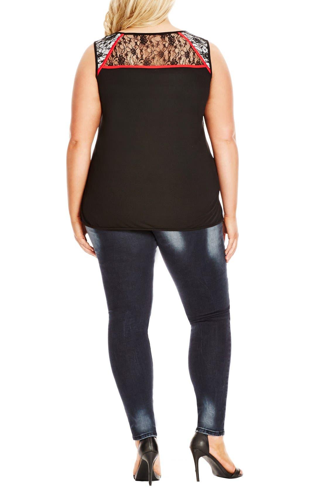 Alternate Image 2  - City Chic Lace Overlay Sleeveless Top (Plus Size)