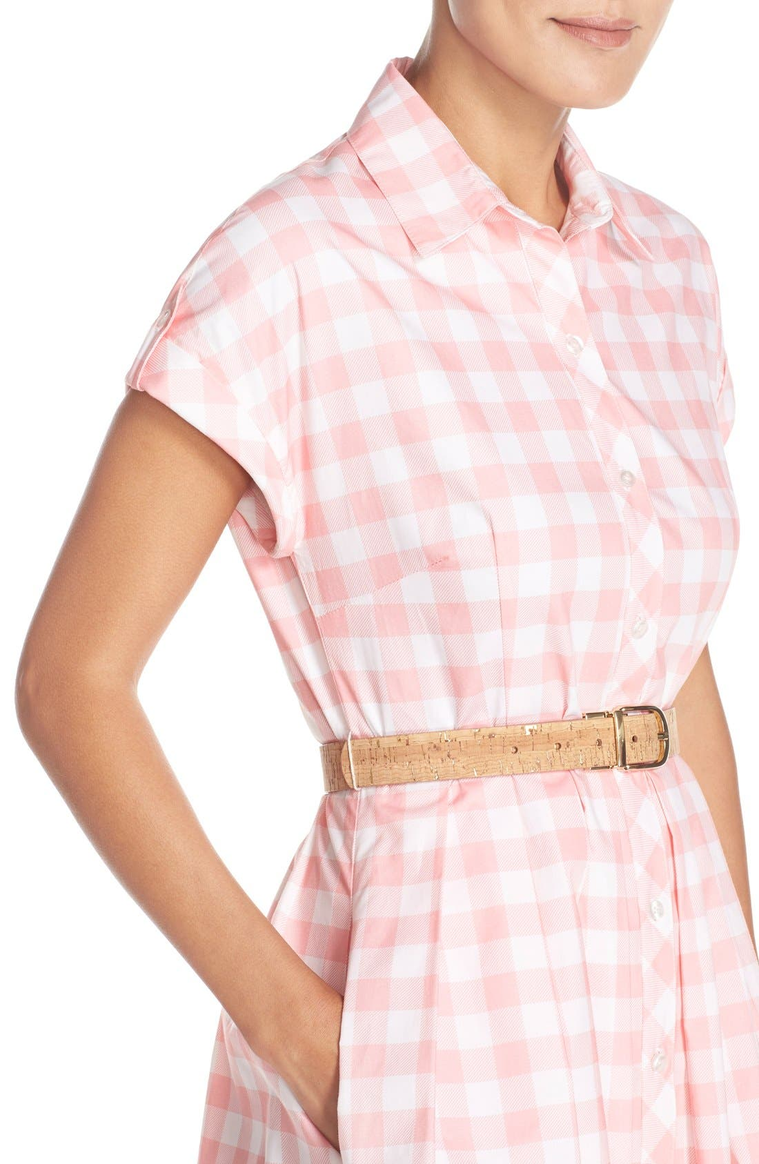 Alternate Image 4  - Eliza J Check Cotton Poplin Shirtdress