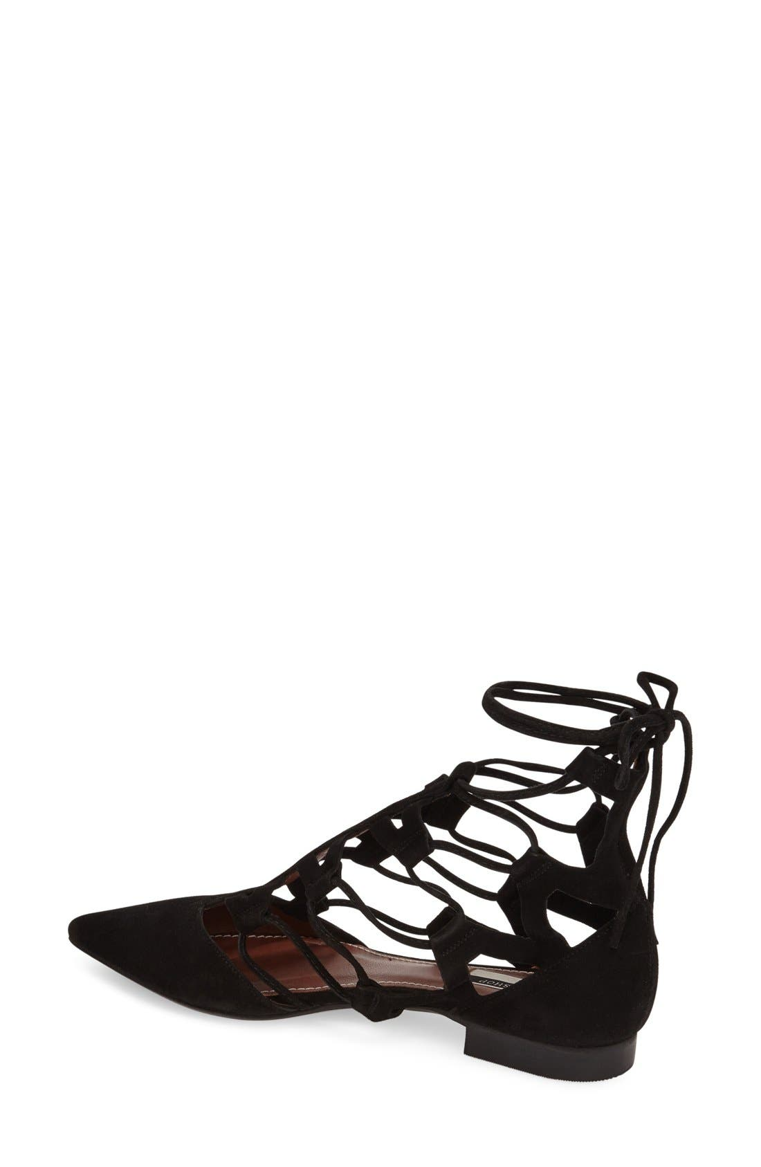 Alternate Image 2  - Topshop 'Posy' Pointy Toe Ghillie Flat (Women)