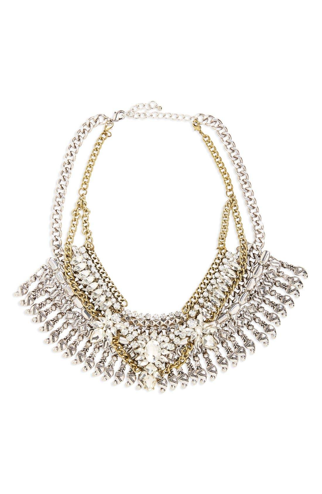 Main Image - Leith Crystal & Fringe Layered Statement Necklace