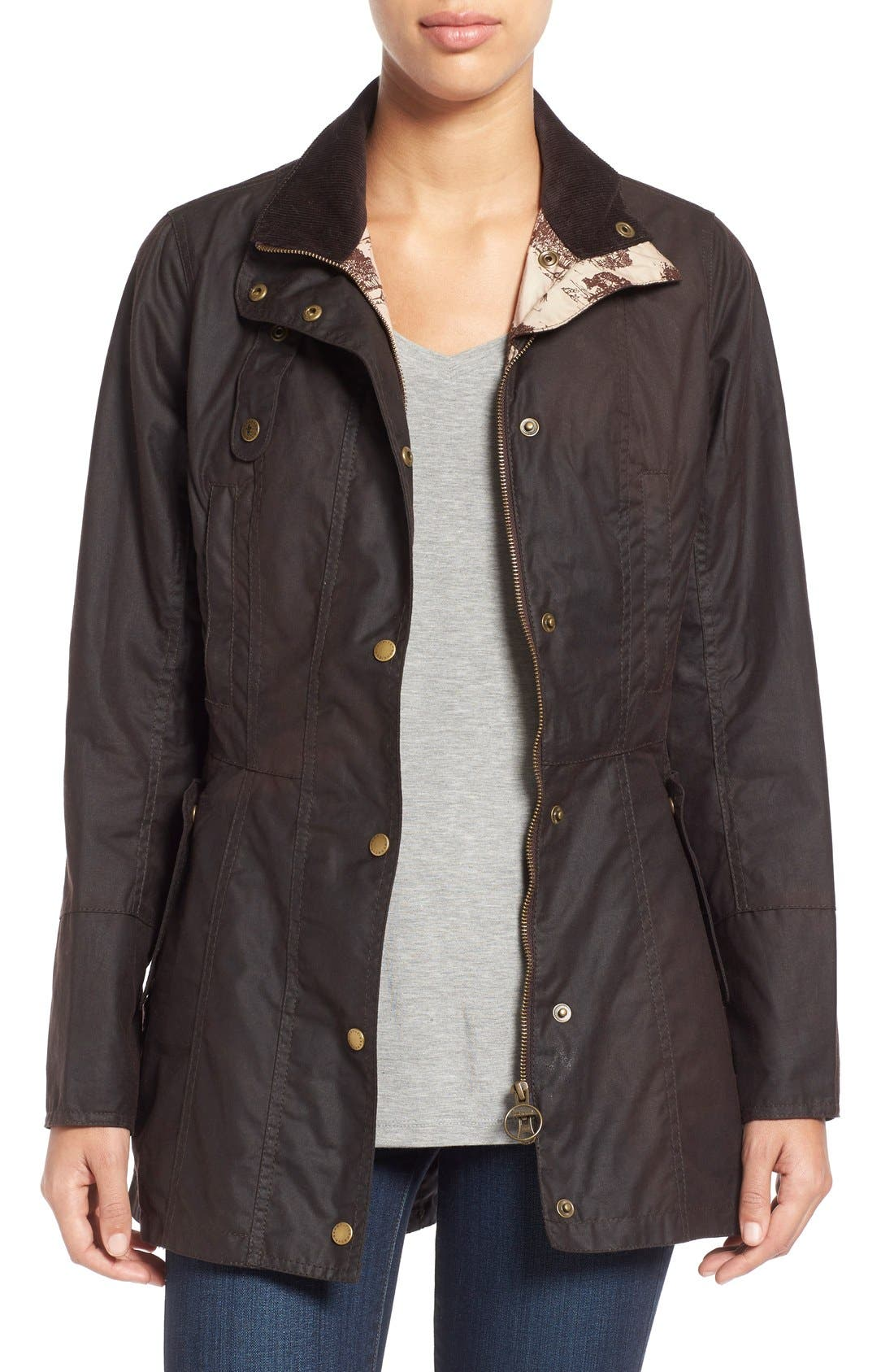 Alternate Image 1 Selected - Barbour 'Holsteiner' Skirted Waxed Cotton Jacket