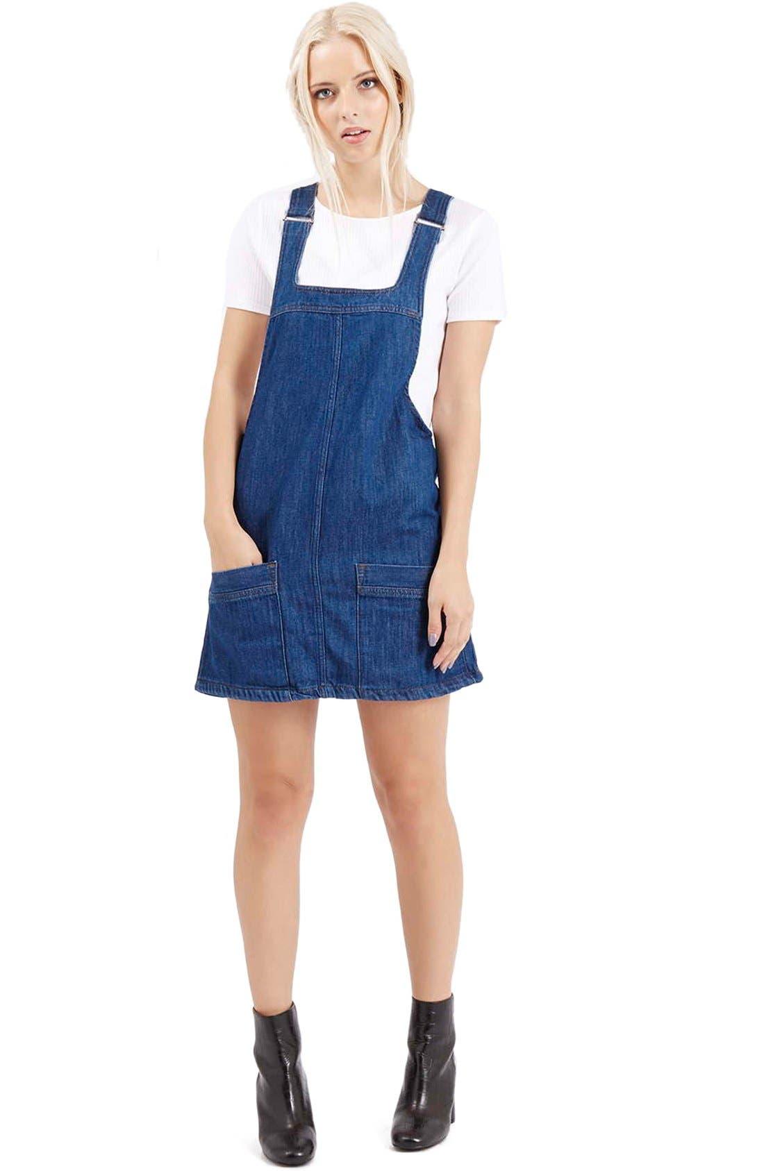 Main Image - Topshop Denim Pinafore Dress