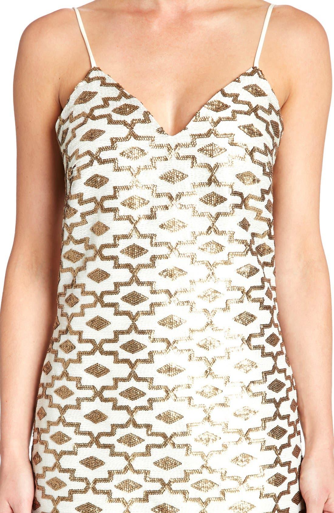 Alternate Image 3  - Dress the Population 'Adriana' Sequin Chiffon Slip Dress
