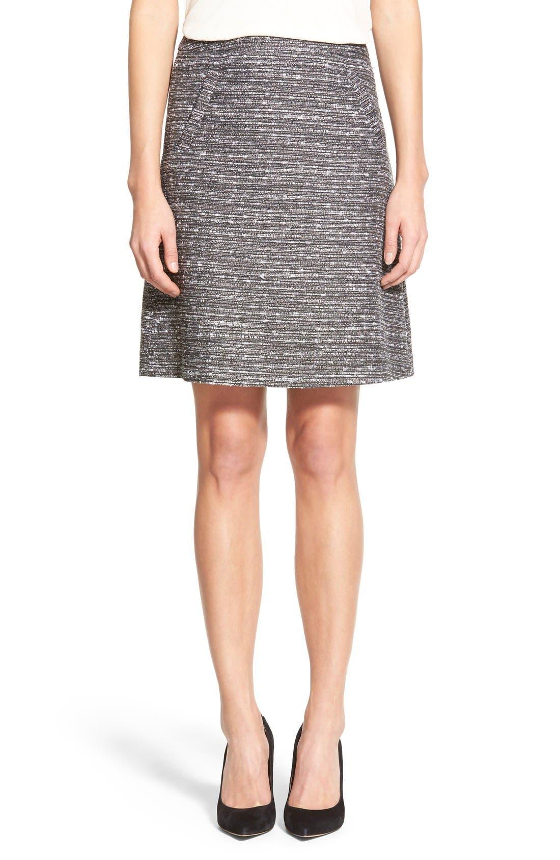 Alternate Image 1 Selected - Halogen® Welt Pocket A-Line Skirt (Regular & Petite)