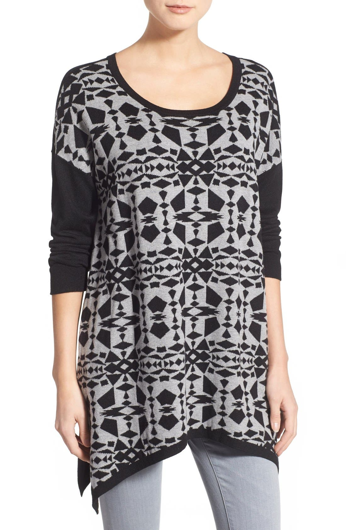 Alternate Image 1 Selected - kensie Print Block Asymmetrical Pullover