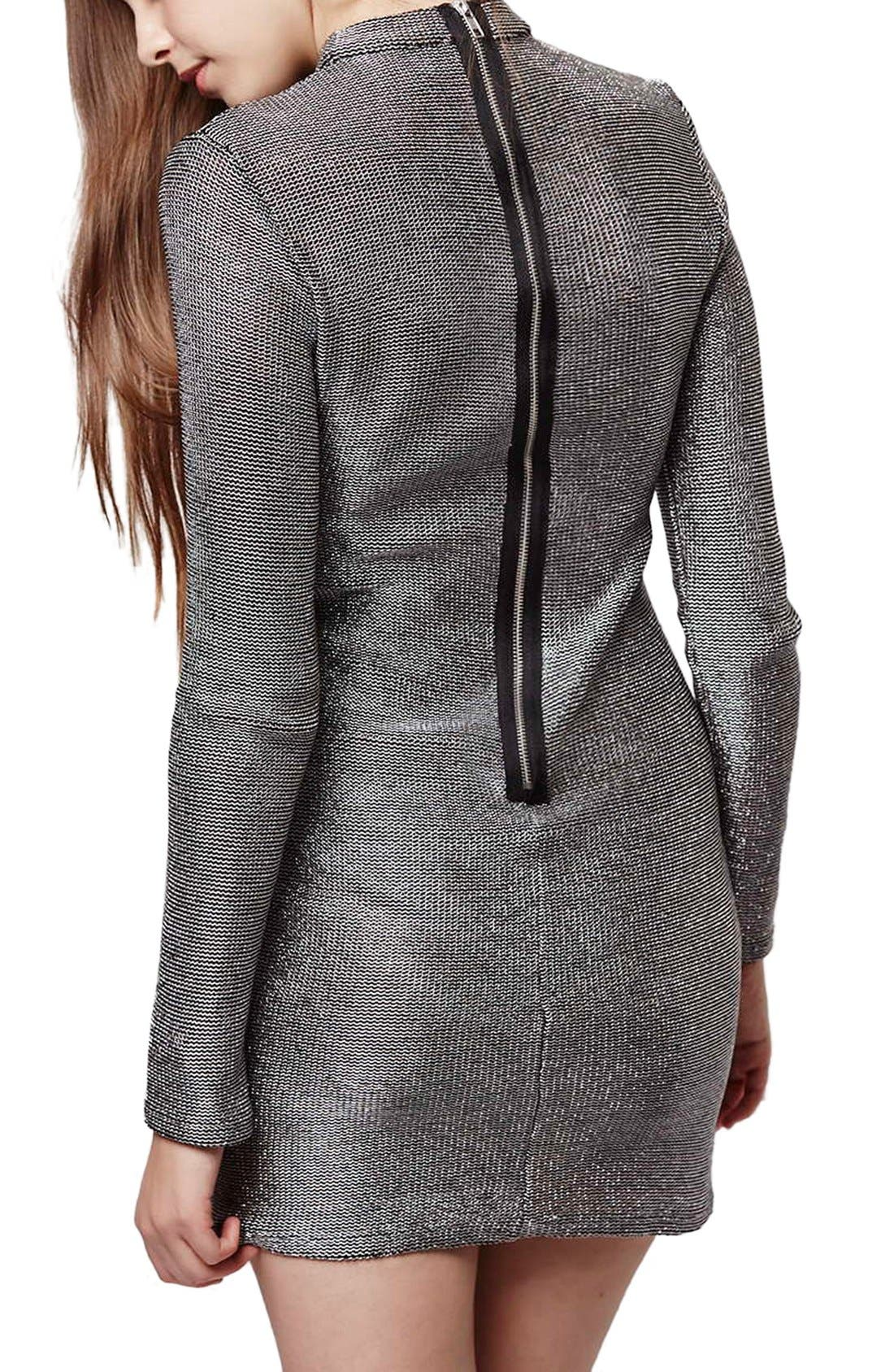 Alternate Image 3  - Topshop Mock Neck Chainmail Body-Con Dress