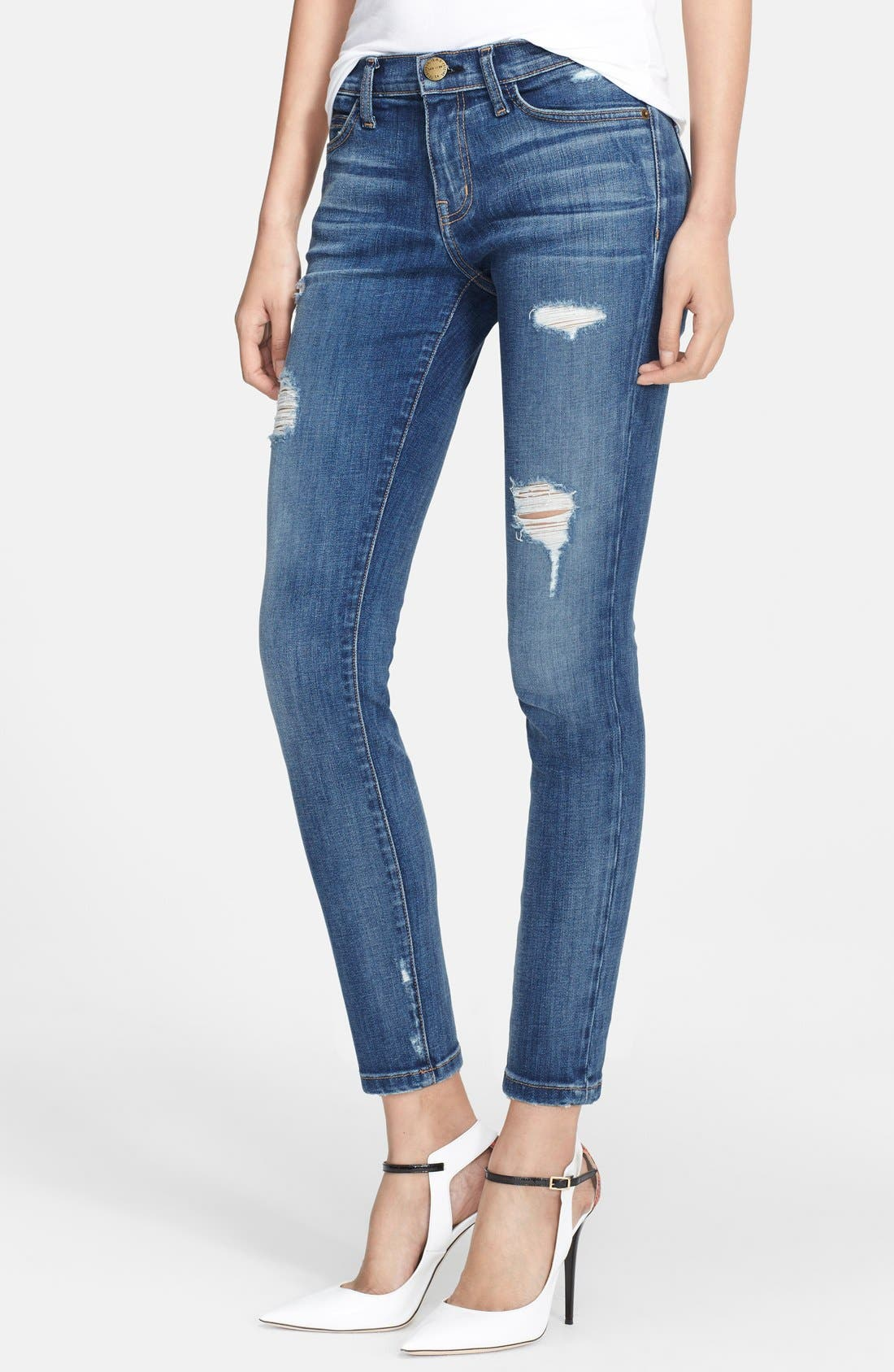 Alternate Image 1 Selected - Current/Elliott 'The Stiletto' Destroyed Skinny Jeans (Niagara Destroy) (Nordstrom Exclusive)