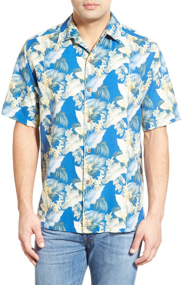 Tommy bahama 39 byron blooms 39 regular fit short sleeve silk for Tommy bahama short sleeve silk camp shirt