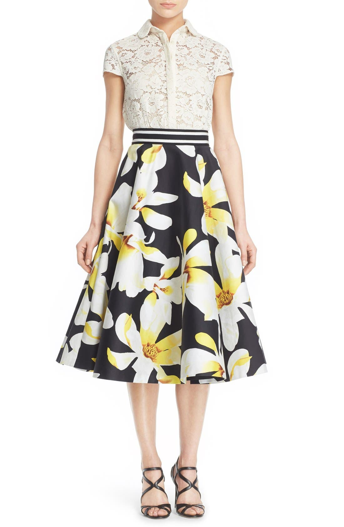 Alternate Image 2  - Alice + Olivia 'Dianna' Floral Print Circle Skirt