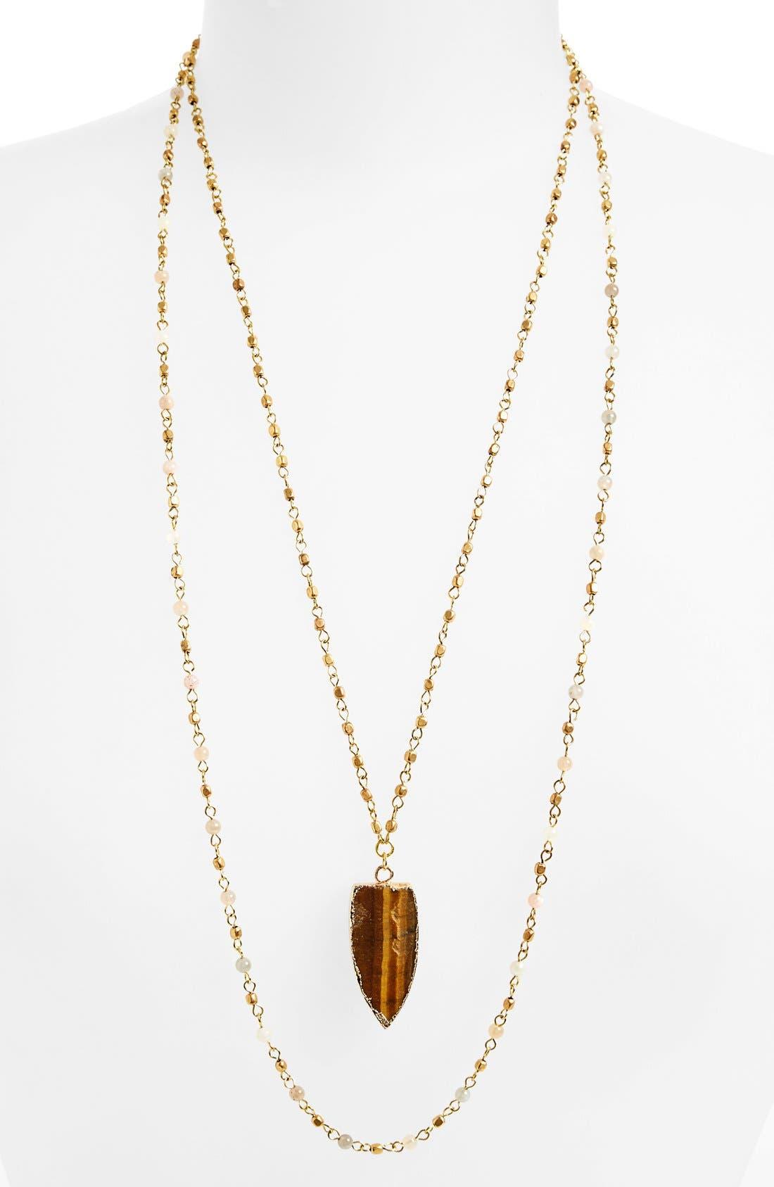 Alternate Image 1 Selected - Panacea Double Strand Stone Pendant Necklace