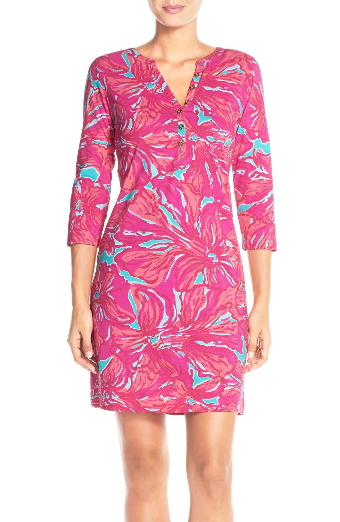Alternate Image 1 Selected - Lilly Pulitzer® 'Alessia' Print Pima Cotton T-Shirt Dress (Nordstrom Exclusive)