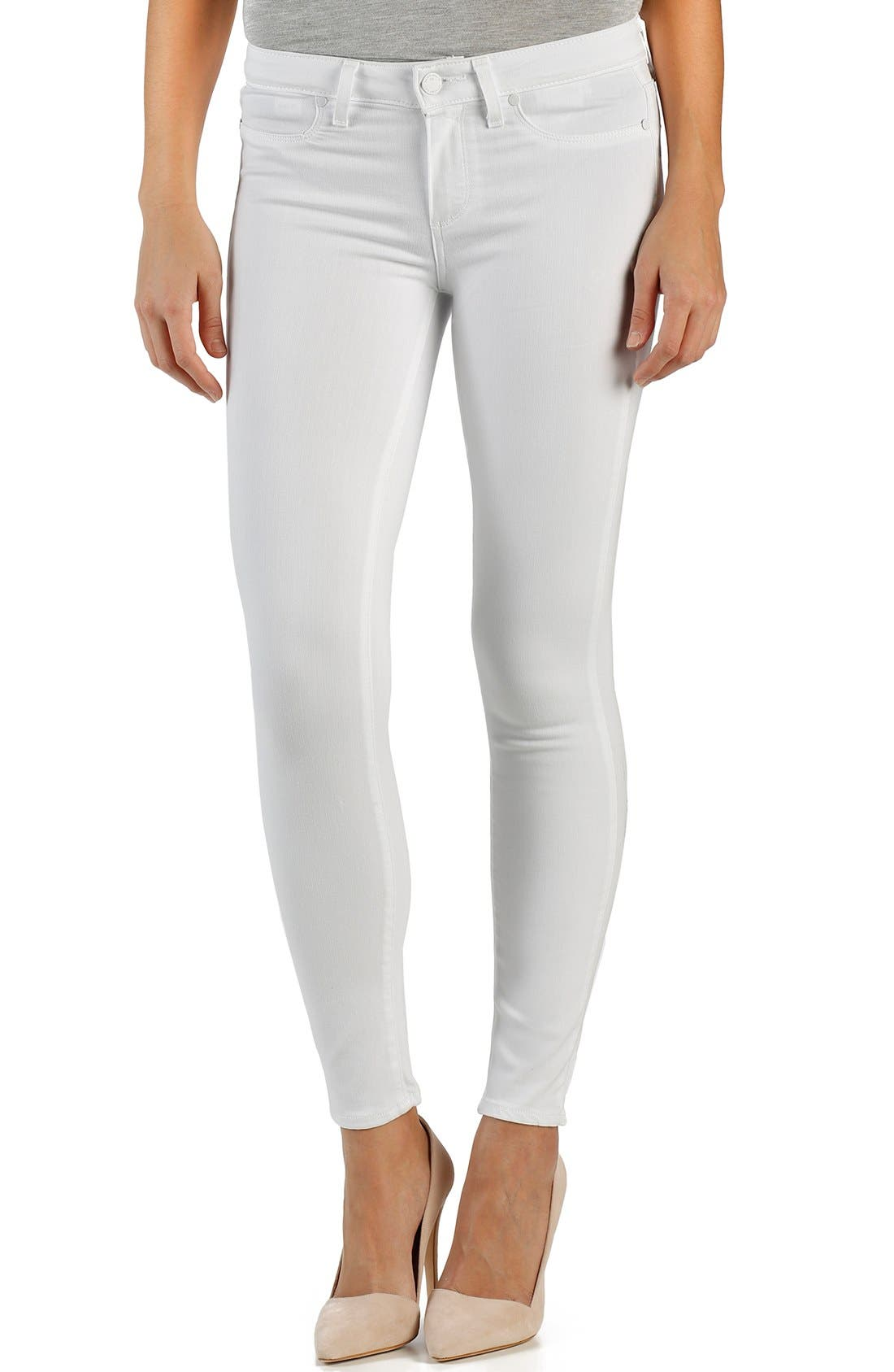 Paige Denim 'Transcend - Verdugo' Ankle Skinny Jeans (White Mist)