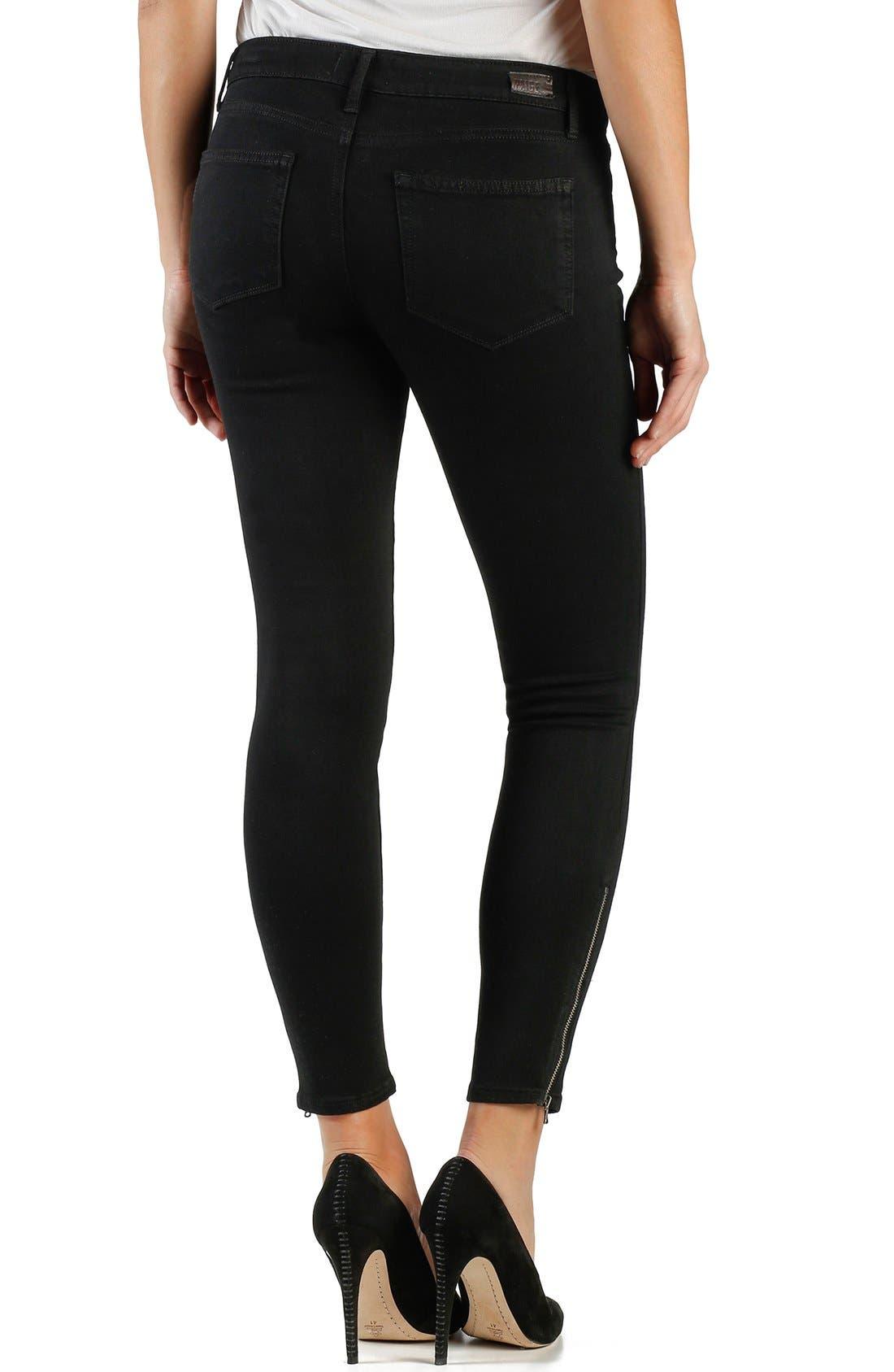 Alternate Image 2  - Paige Denim 'Transcend - Jane' Crop Zip Skinny Jeans (Black Shadow)