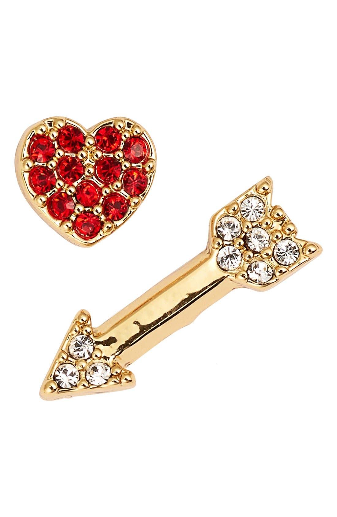 Alternate Image 1 Selected - kate spade new york 'love list' heart & arrow mismatched stud earrings