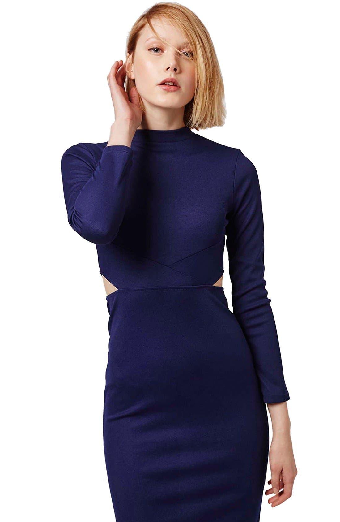Alternate Image 3  - Topshop Paneled Long Sleeve Midi Dress