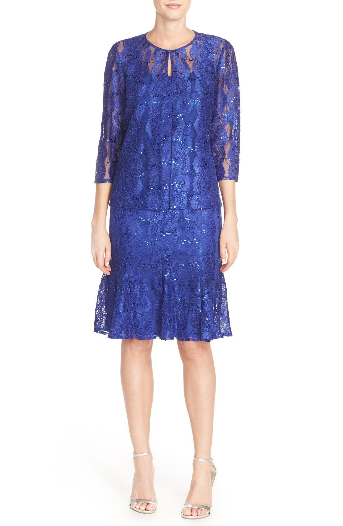 Alternate Image 4  - Alex Evenings Embellished Lace Fit & Flare Dress with Jacket