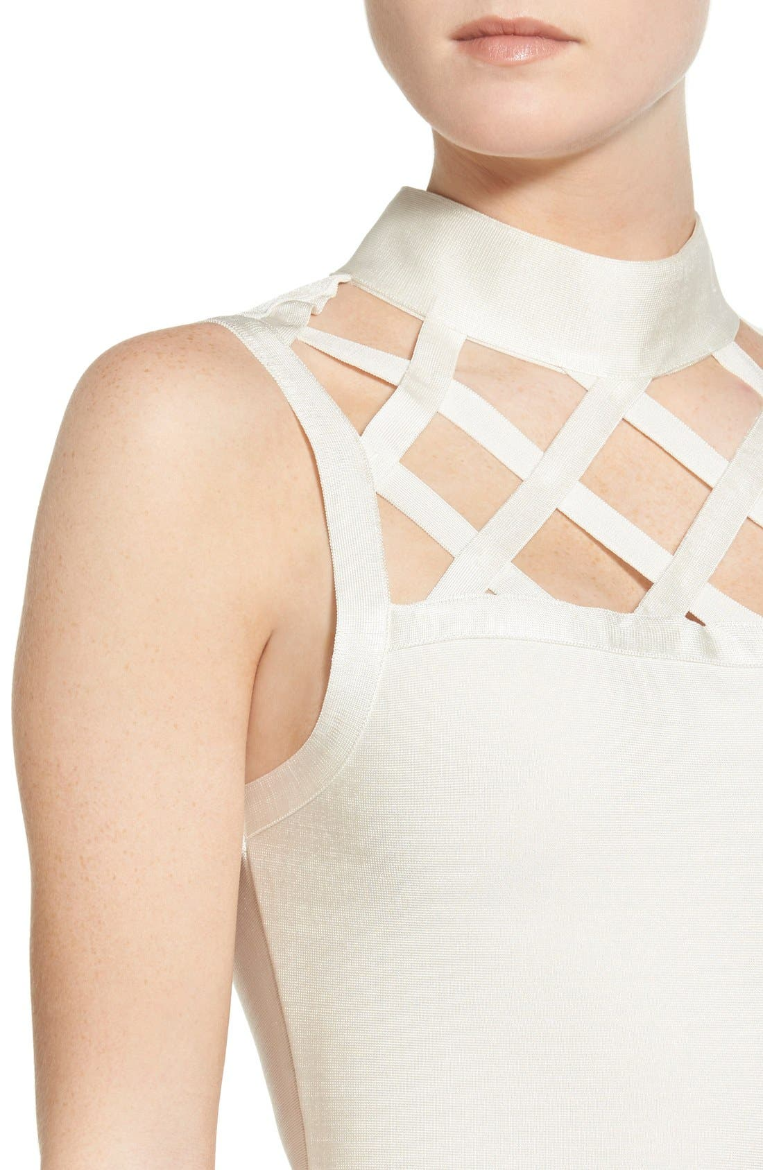 Alternate Image 4  - Missguided Grid Yoke Body-Con Dress