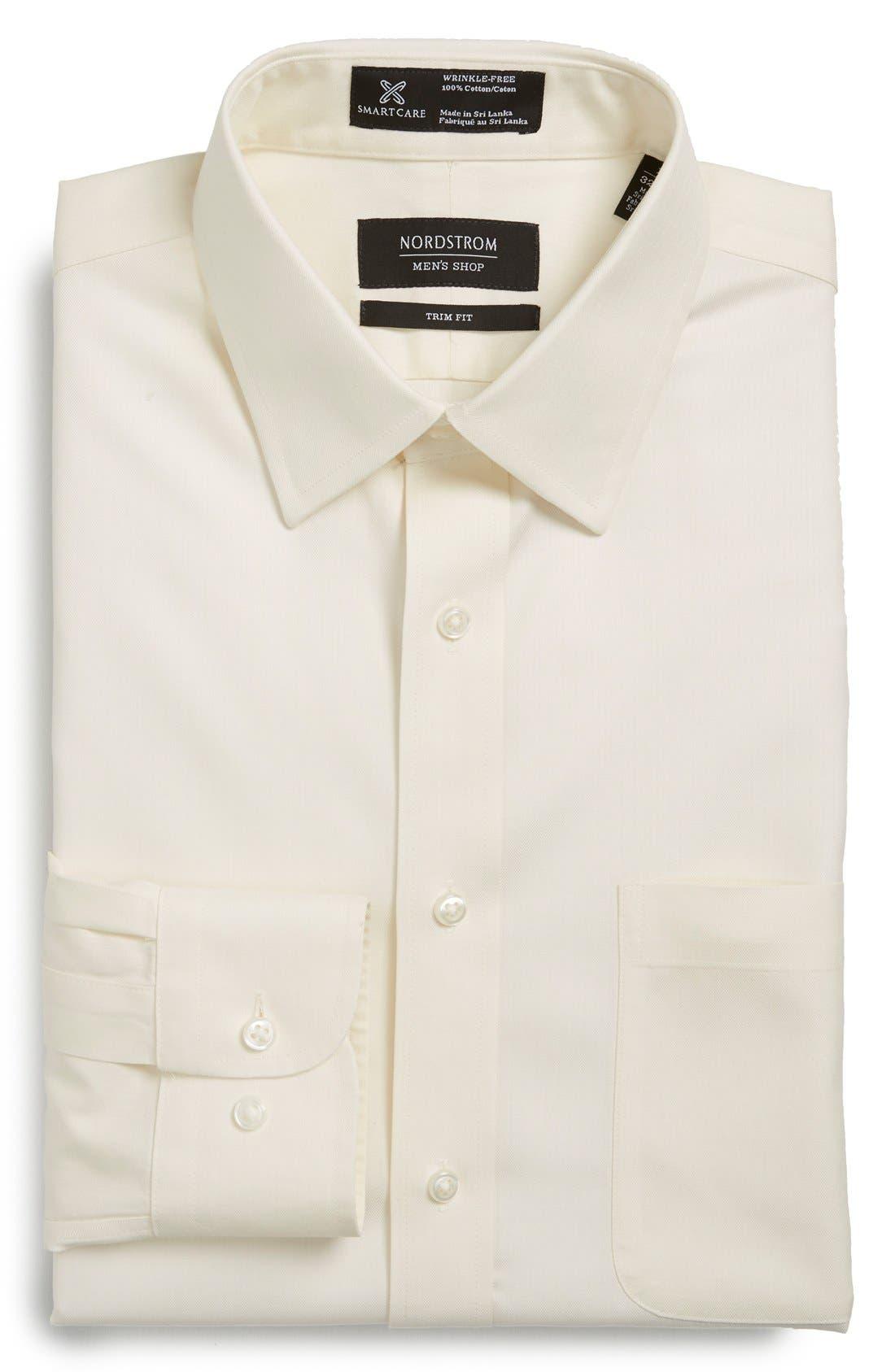 Main Image - Nordstrom Men's Shop Smartcare™ Wrinkle Free Herringbone Trim Fit Dress Shirt