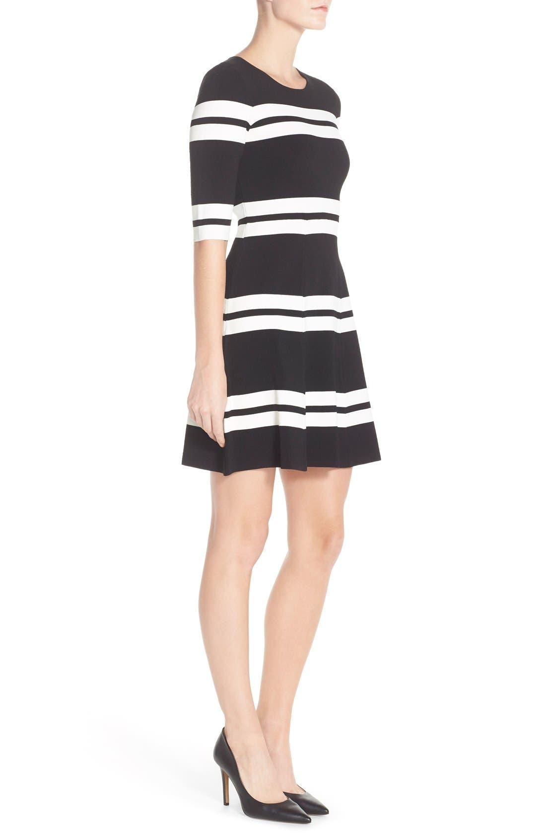 Alternate Image 3  - Eliza J Stripe Sweater Fit & Flare Dress (Regular & Petite)