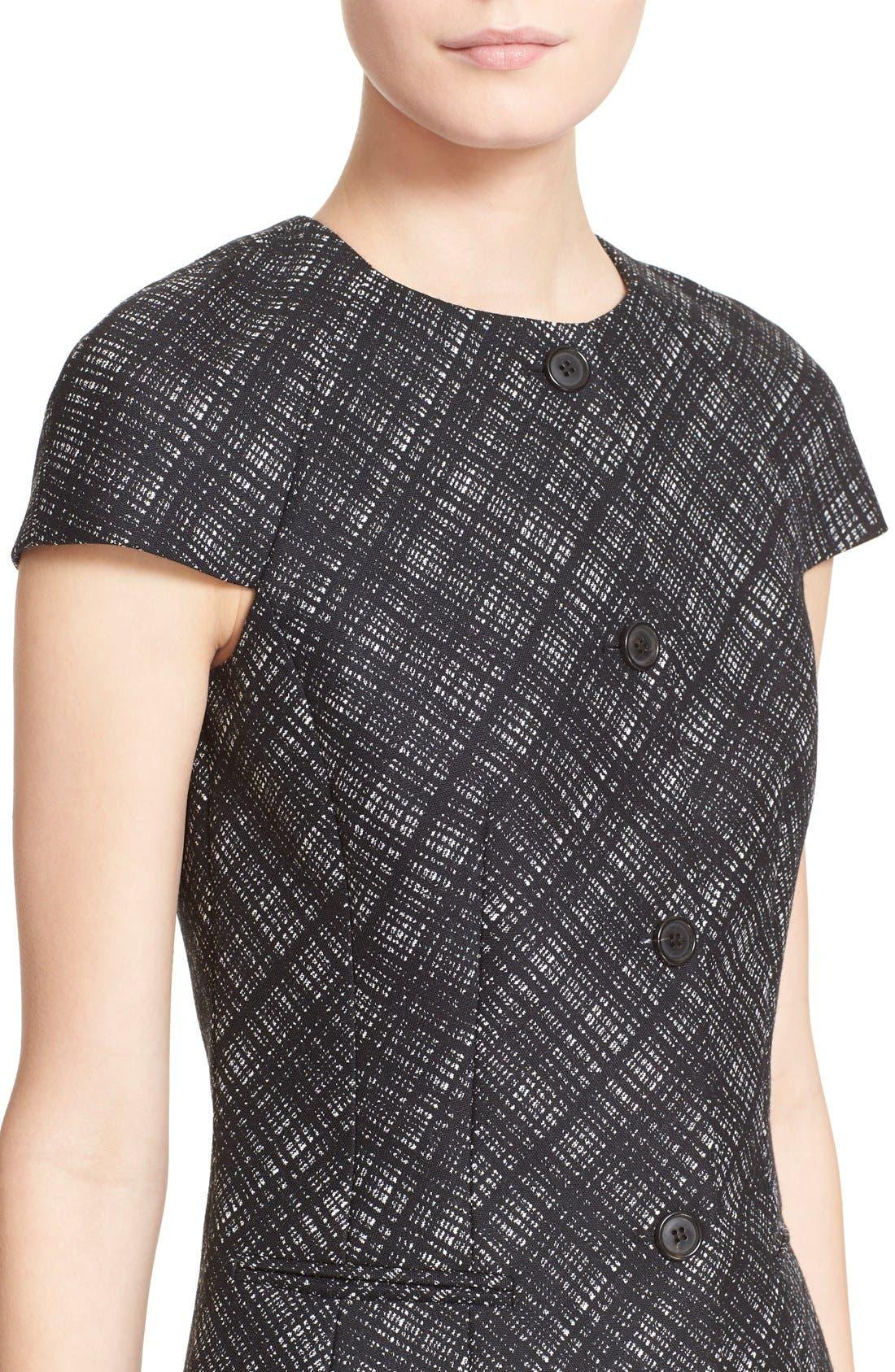 Alternate Image 6  - Michael Kors Jacquard Plaid Cap Sleeve Wool Jacket