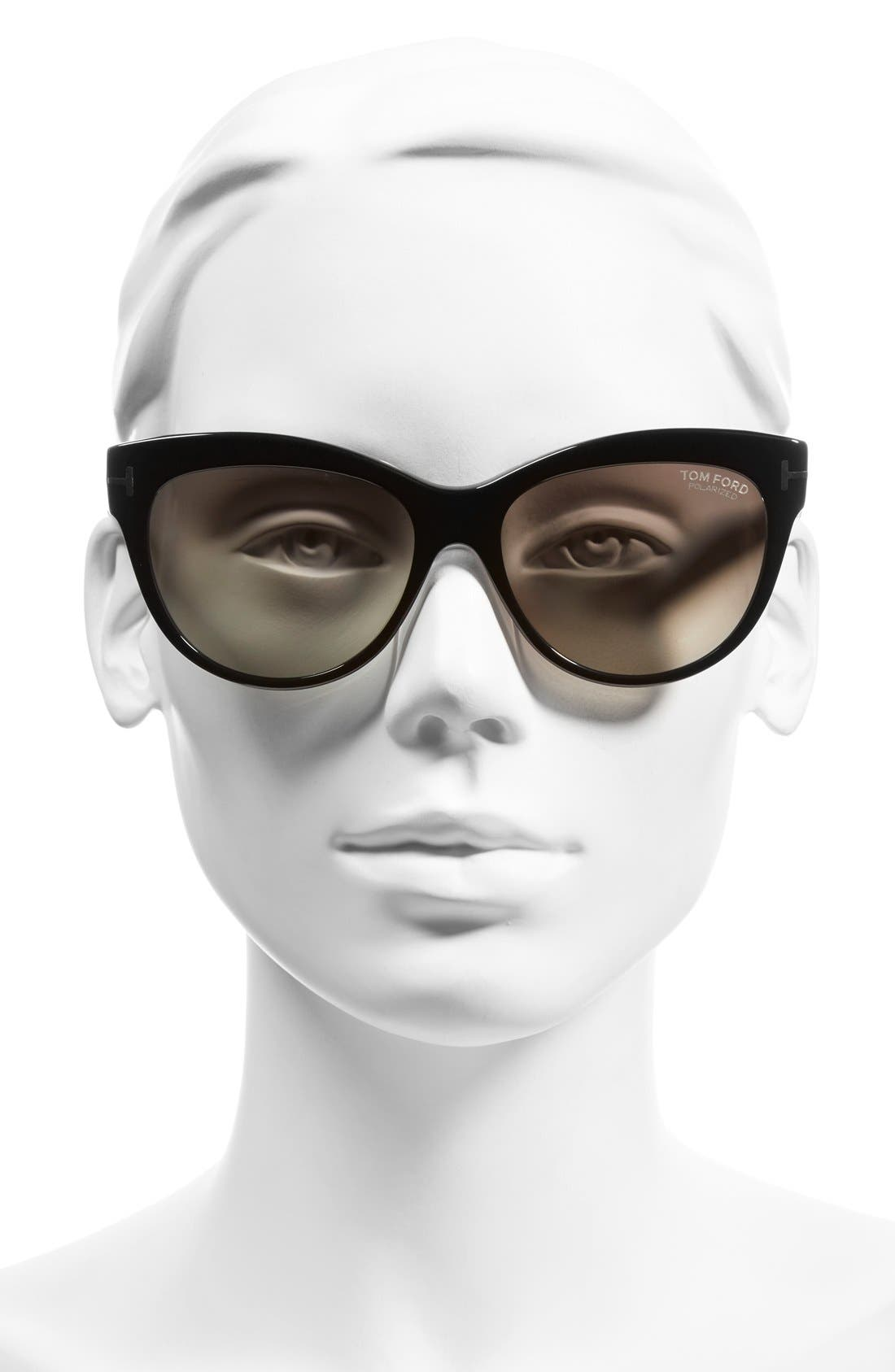 Alternate Image 2  - Tom Ford 'Lily' 56mm Polarized Cat Eye Sunglasses