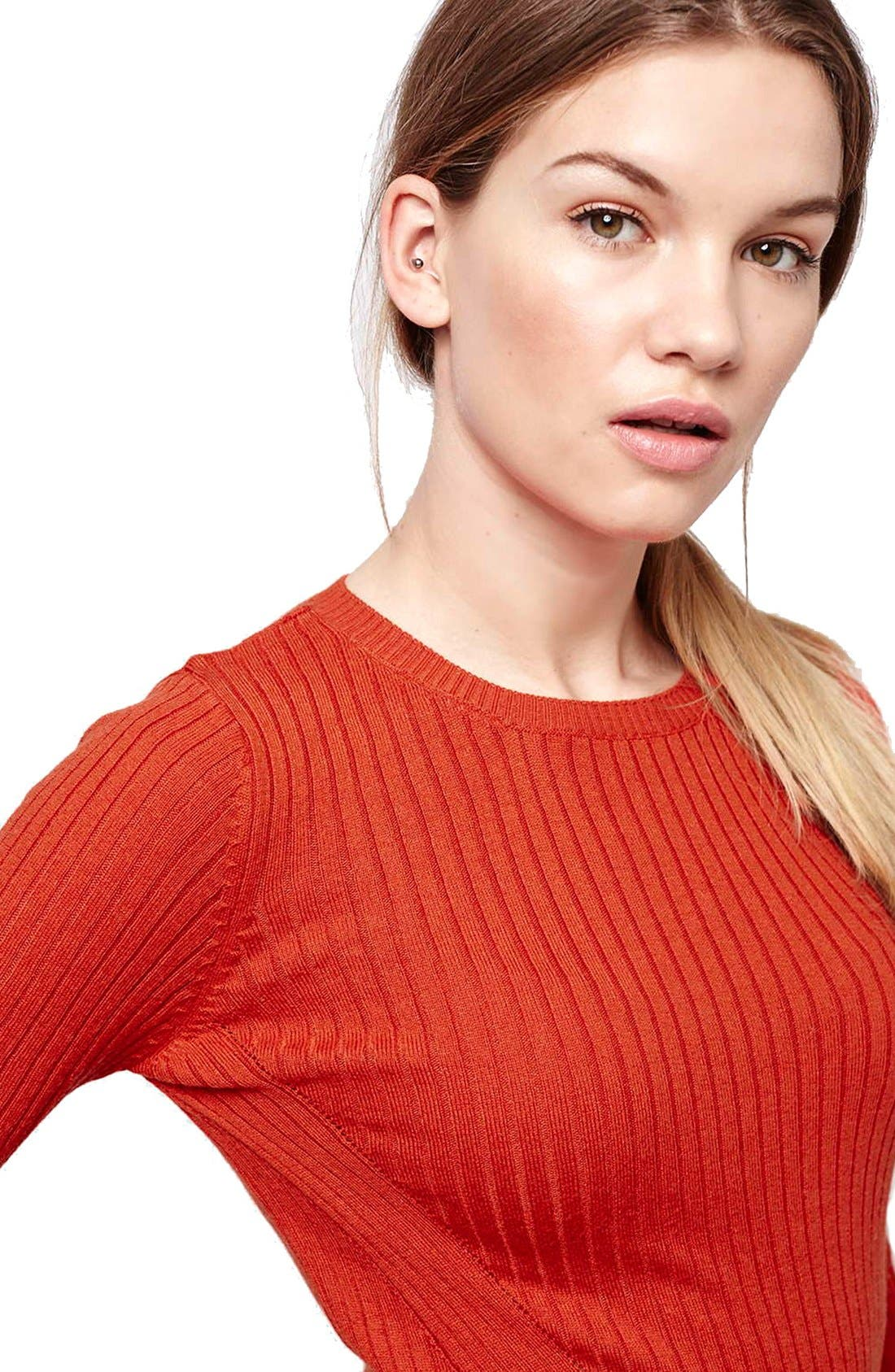 Alternate Image 5  - Topshop Ribbed Crop Sweater