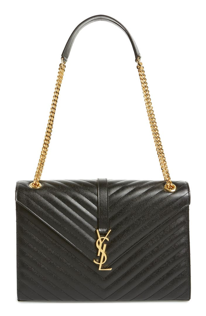 Saint Laurent Large Monogram Grained Leather Shoulder