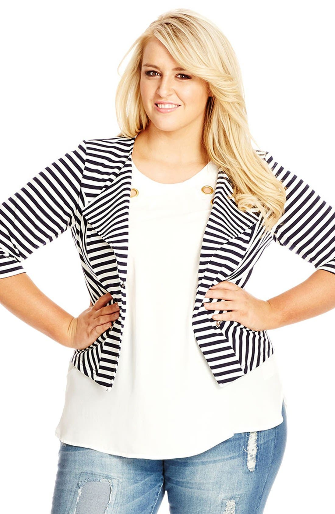 Alternate Image 3  - City Chic Zip Detail Stripe Ponte Blazer (Plus Size)