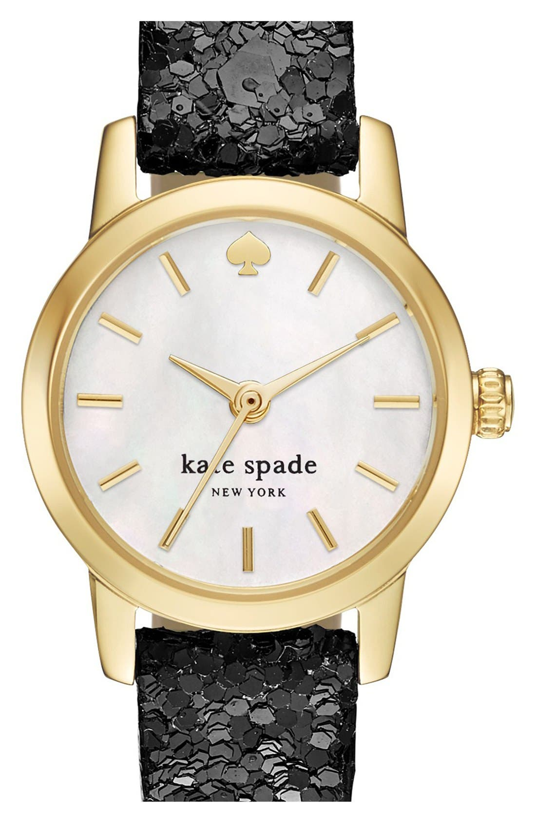 Main Image - kate spade new york 'tiny metro' embellished leather strap watch, 20mm