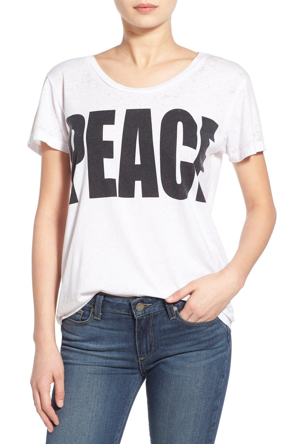 Main Image - Chaser 'Peace' Burnout Crewneck Tee