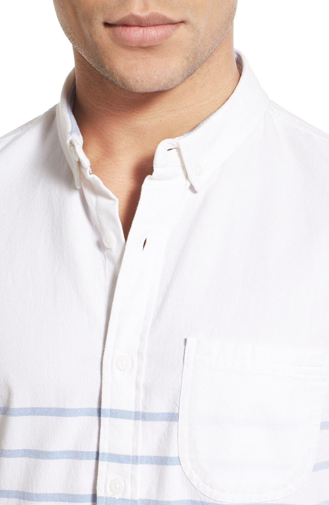 Alternate Image 4  - 1901 'La Conner' Trim Fit Stripe Print Woven Shirt