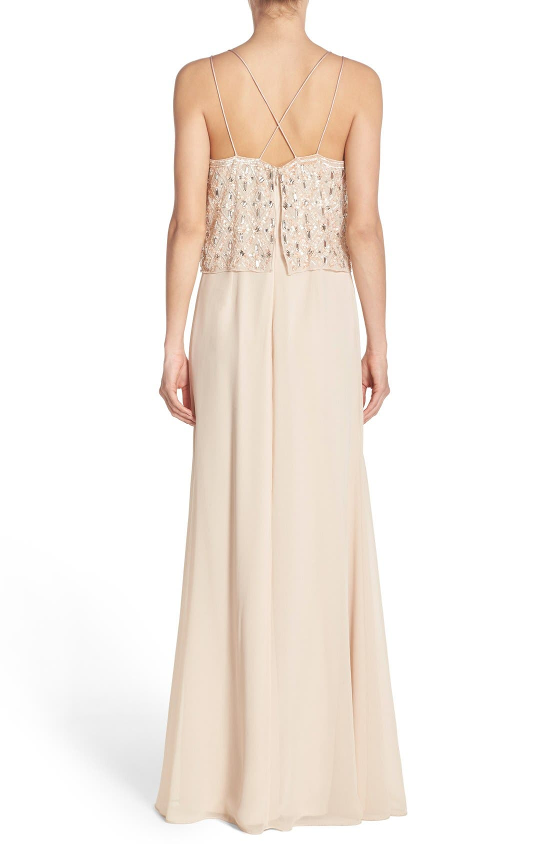 Alternate Image 2  - Aidan Mattox Embellished Popover Georgette Gown