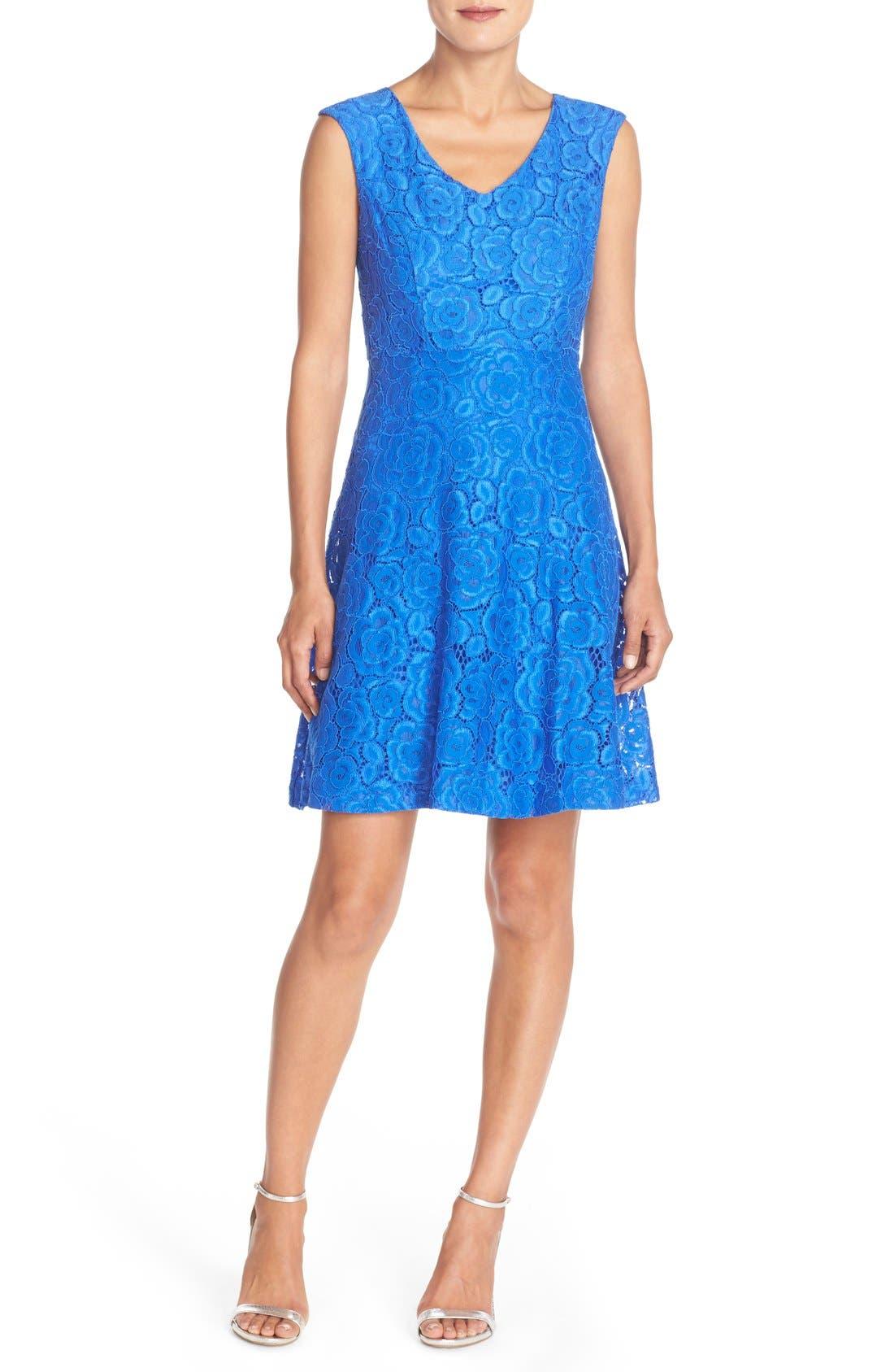 Ellen Tracy Lace Fit & Flare Dress