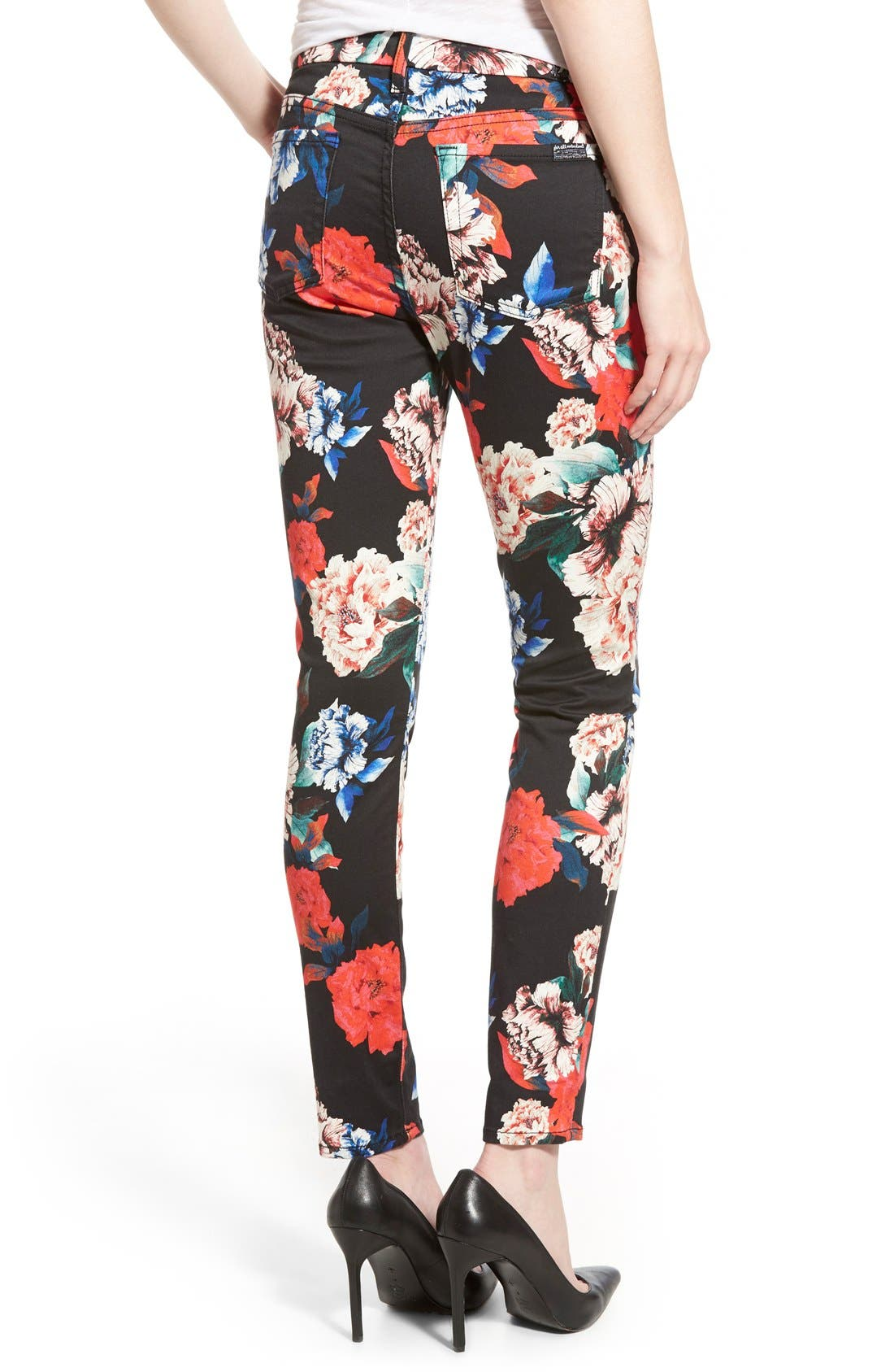 Alternate Image 2  - 7 For All Mankind® Ankle Skinny Jeans (Peony Floral)
