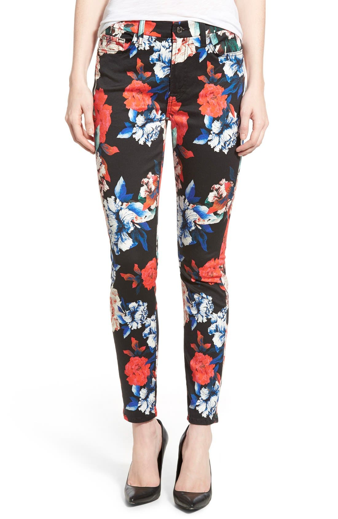 Main Image - 7 For All Mankind® Ankle Skinny Jeans (Peony Floral)