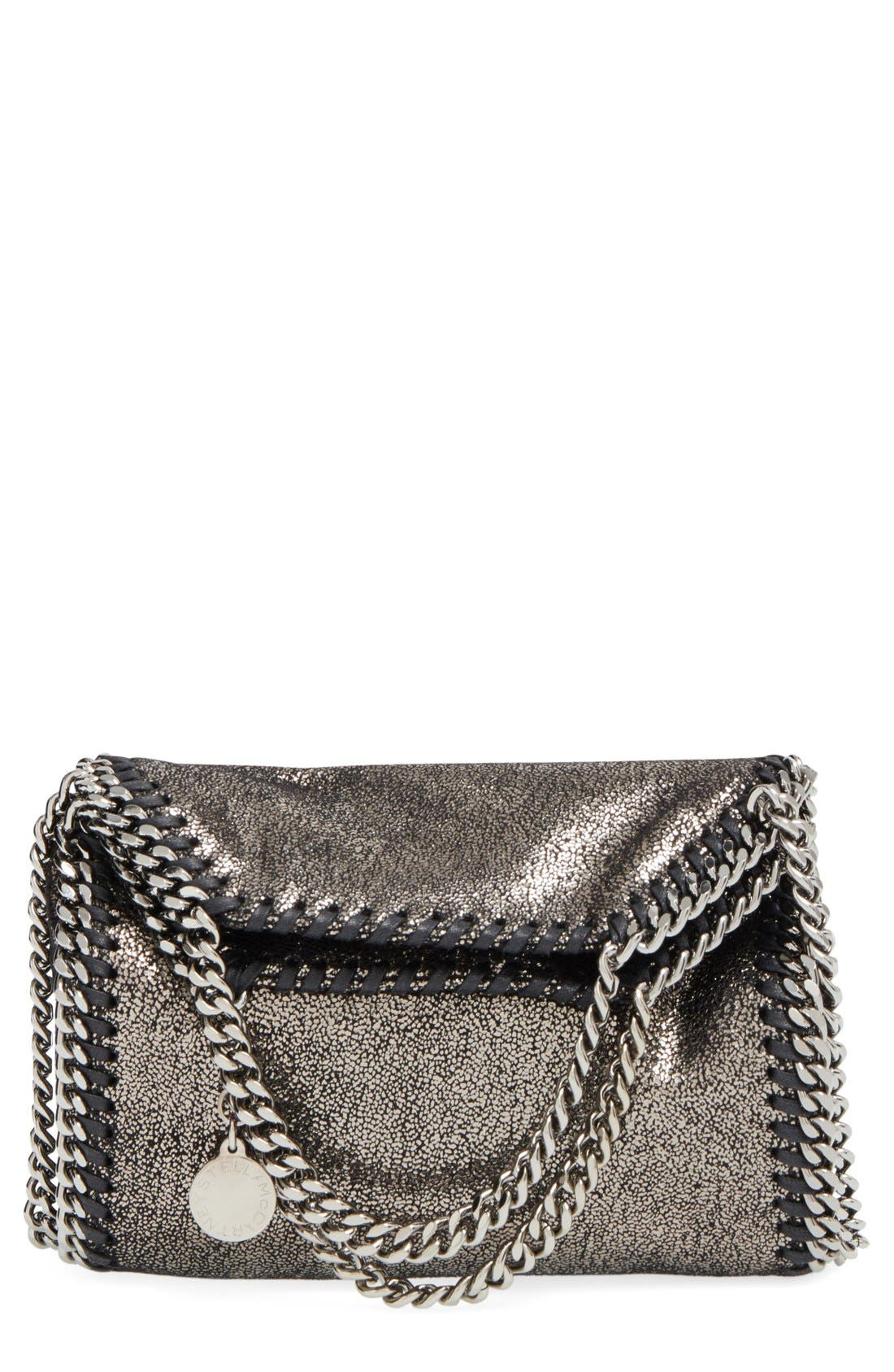 Stella McCartney 'Tiny Falabella' Metallic Faux Leather Crossbody Bag